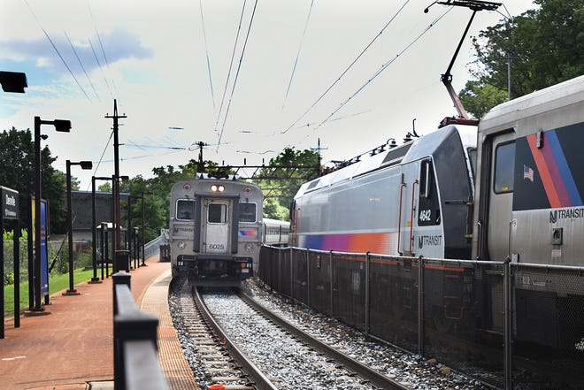 A train arrives at the Denville station on August 9, 2018.