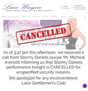 The Lace website announcing Stormy Daniels had cancelled her appearance.