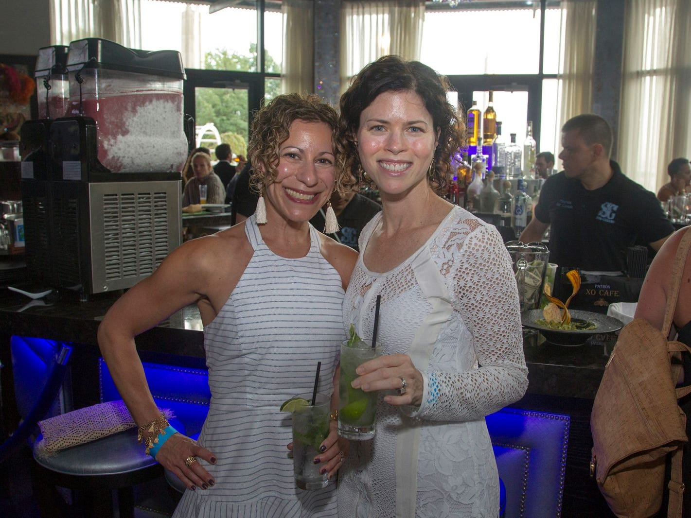 Karen Lerman and Stacey Bradford. Summer Samba Night benefitting Tackle Kids Cancer hosted by Cara Robles, Luis Robles (NY Red Bulls Goalkeeper), Jennifer Farber, and Dr. Michael Farber at Son Cubano in West New York. 08/08/2018