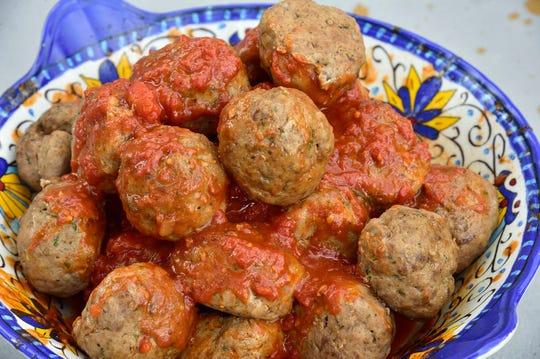 Freshly made meatballs and sauce at Visentini Bros. in Lodi.