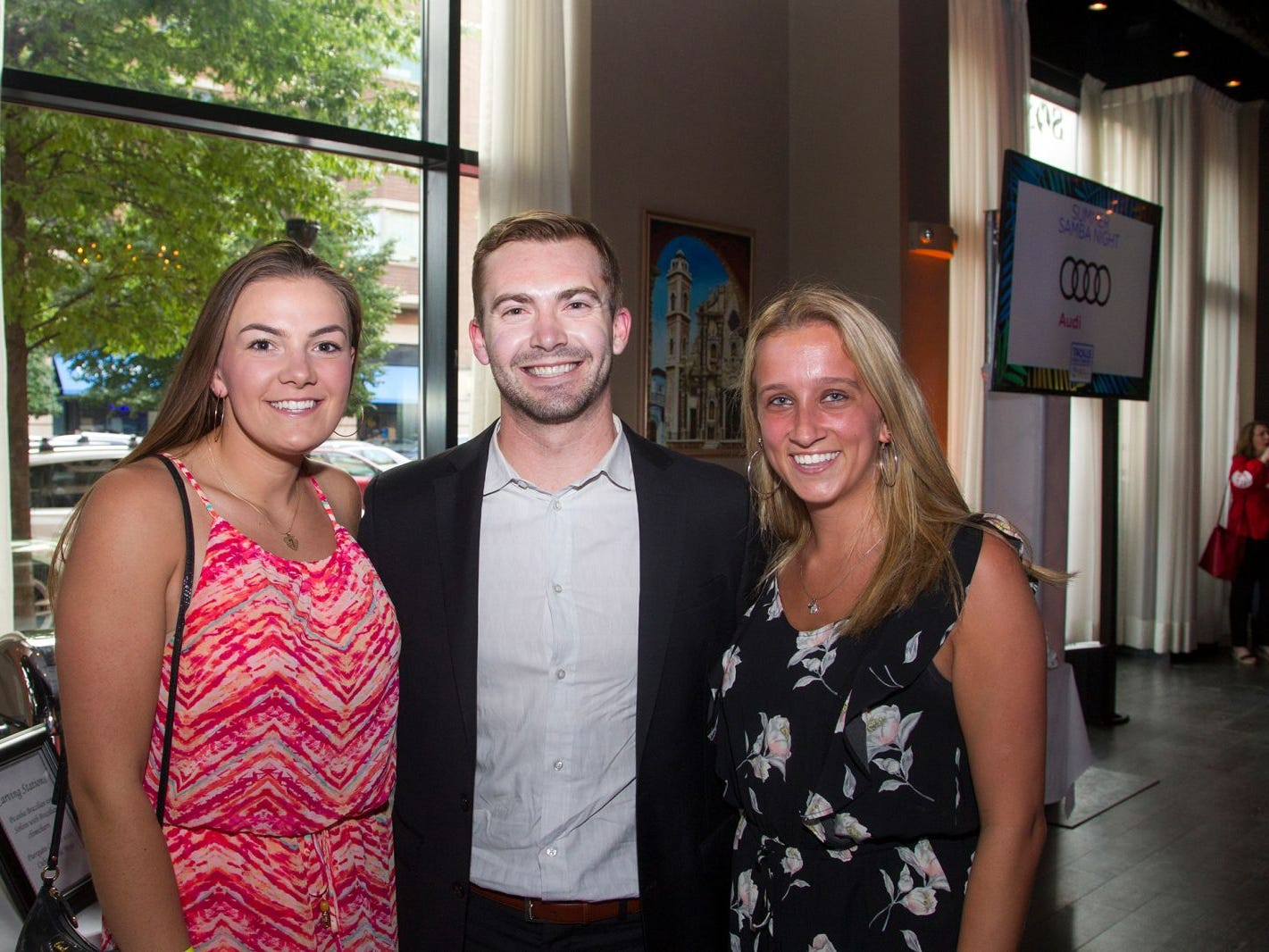 Nicole Imhof, Christian Gange, Casey Imbasciana. Summer Samba Night benefitting Tackle Kids Cancer hosted by Cara Robles, Luis Robles (NY Red Bulls Goalkeeper), Jennifer Farber, and Dr. Michael Farber at Son Cubano in West New York. 08/08/2018