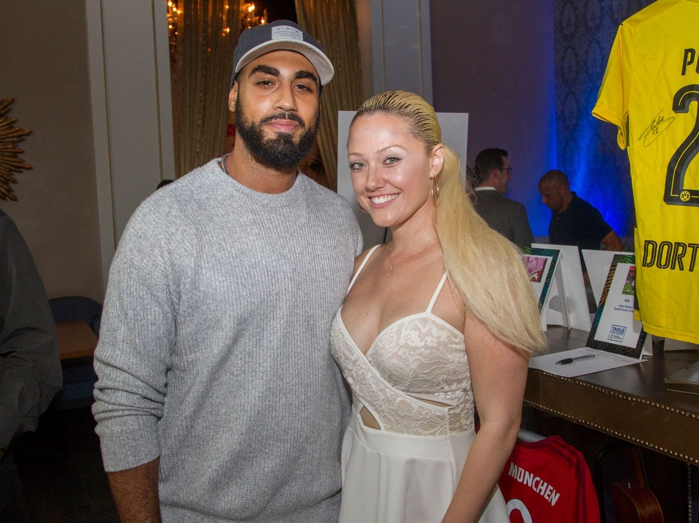 Nas Abdel and Olivia Hutcherson. Summer Samba Night benefitting Tackle Kids Cancer hosted by Cara Robles, Luis Robles (NY Red Bulls Goalkeeper), Jennifer Farber, and Dr. Michael Farber at Son Cubano in West New York. 08/08/2018
