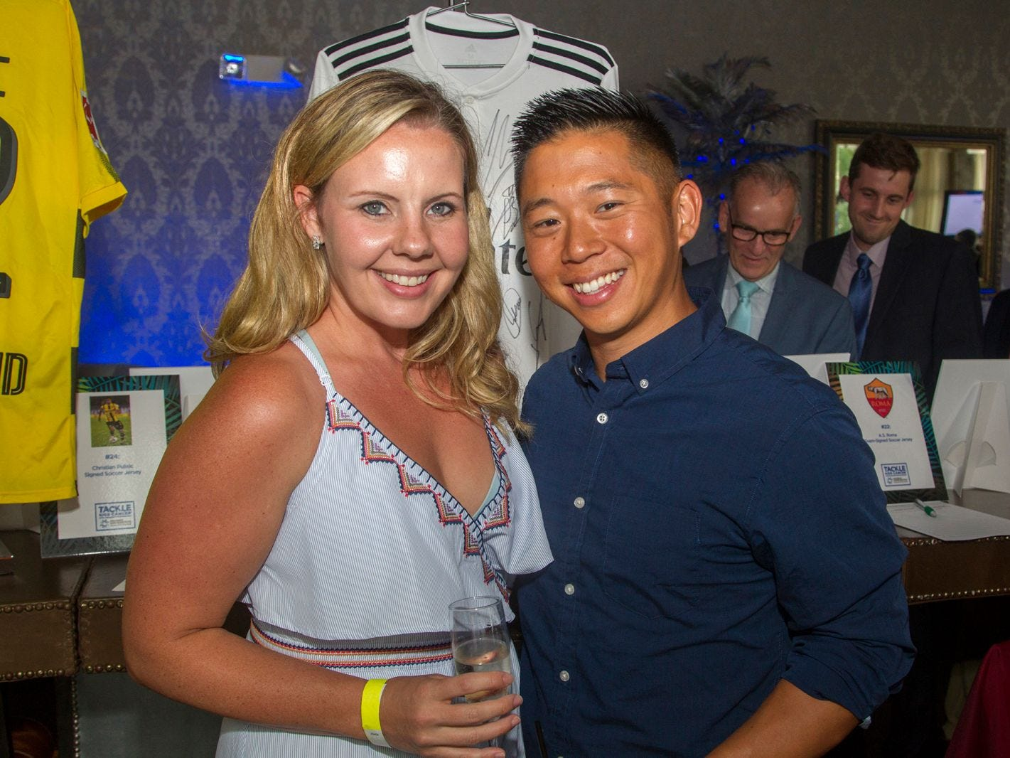 Erin and Mark Wan. Summer Samba Night benefitting Tackle Kids Cancer hosted by Cara Robles, Luis Robles (NY Red Bulls Goalkeeper), Jennifer Farber, and Dr. Michael Farber at Son Cubano in West New York. 08/08/2018