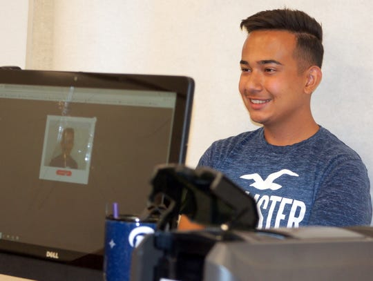 Deming High School students were having photo images taken for new student IDs last week.