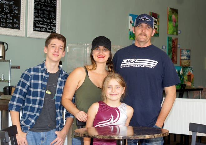 The Sanders Family, clockwise from left, Gavin, Amanda, Jake and Brailee, are the owners of the Copper Kettle Coffee Company at 200 S. Gold Avenue in downtown Deming.