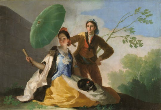 """A print of """"The Parasol,"""" and oil on canvas by Francisco de Goya, will be part of the traveling exhibit."""
