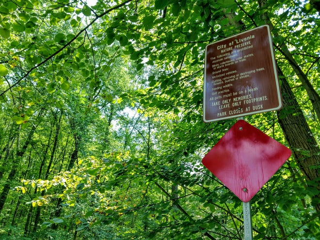 The sign outside to newly-renamed Harry Tatigian Park and Nature Preserve off Laurel. A new bridge is scheduled to be installed in the park later this year.