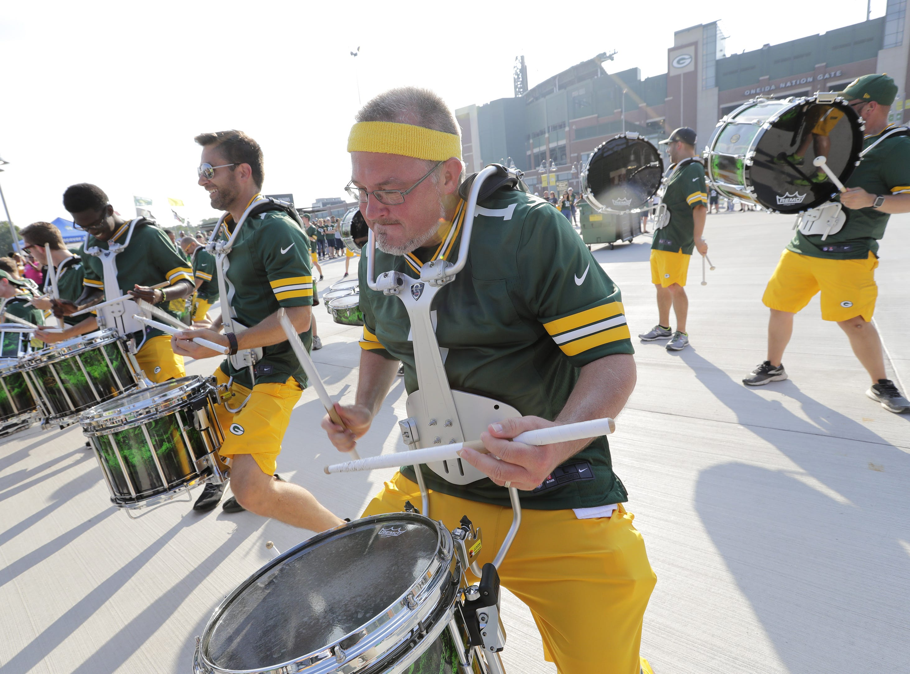 Members of the Tundra Line entertain fans before the Green Bay Packers take on the Tennessee Titans Thursday, August 9, 2018, at Lambeau Field in Green Bay, Wis.