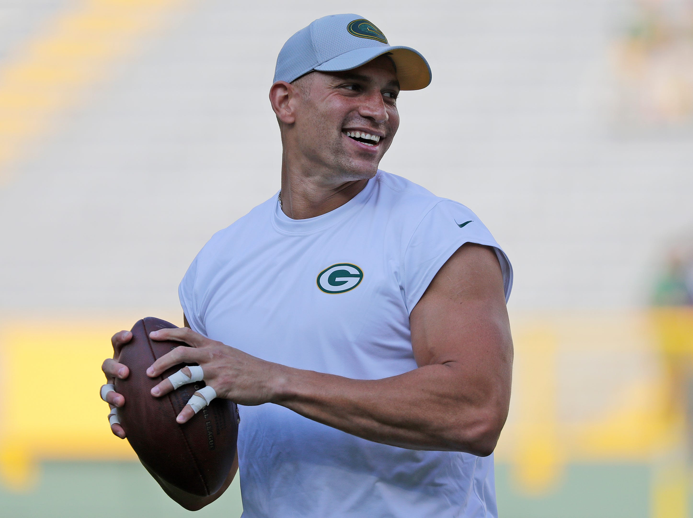 Green Bay Packers tight end Jimmy Graham (80) warms up before a NFL preseason game at Lambeau Field on Thursday, August 9, 2018 in Green Bay, Wis.