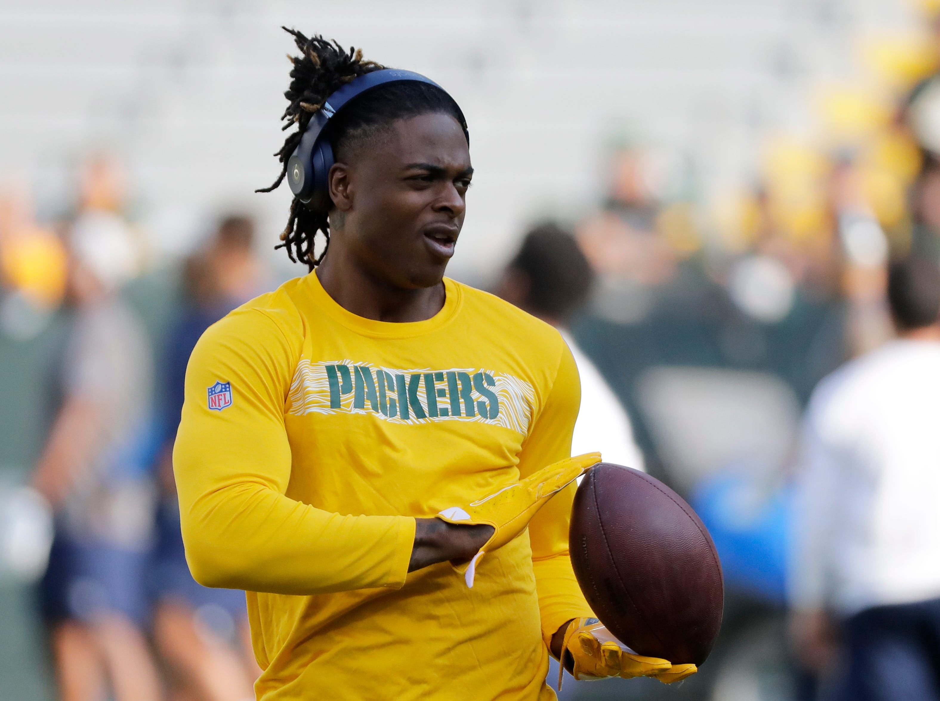 Green Bay Packers wide receiver Davante Adams (17) warms up before a NFL preseason game at Lambeau Field on Thursday, August 9, 2018 in Green Bay, Wis.
