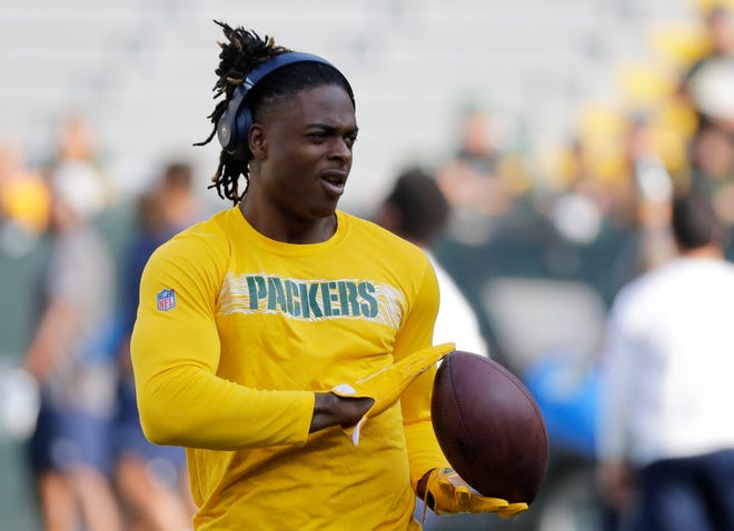 Green Bay Packers wide receiver Davante Adams warms up before a NFL preseason game at Lambeau Field in 2018.