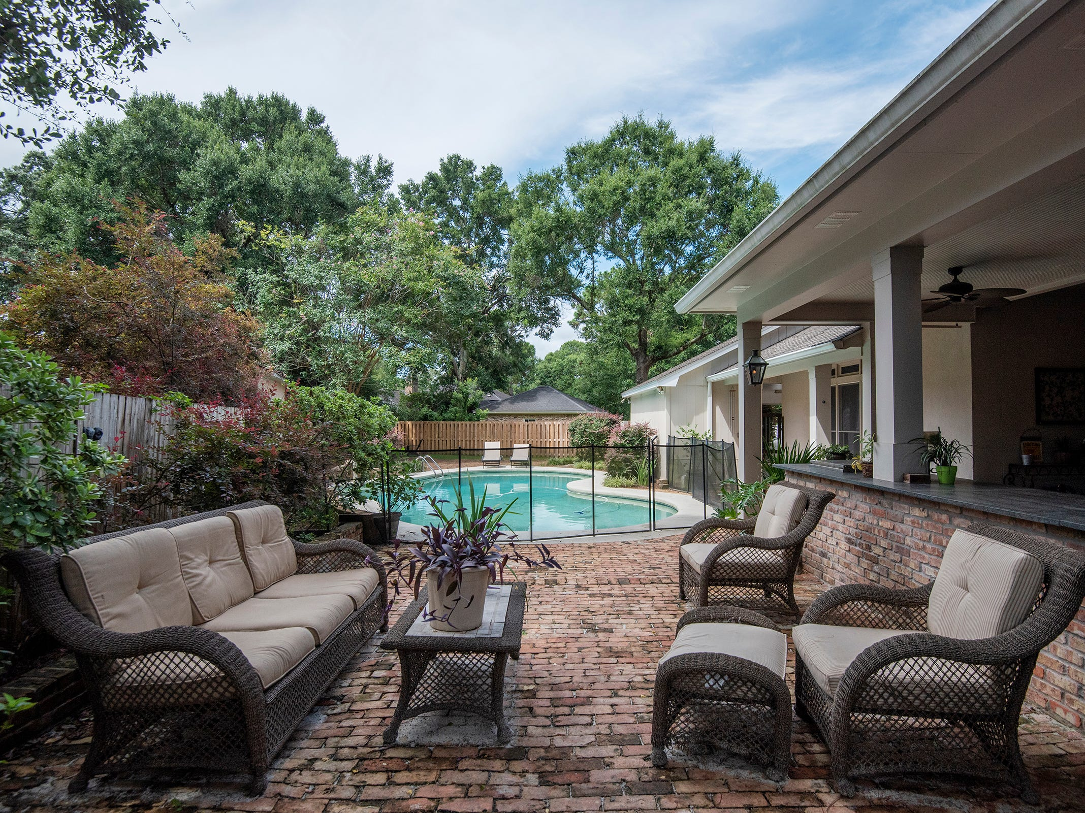 2474 Semur Rd., the open patio overlooks the pool.