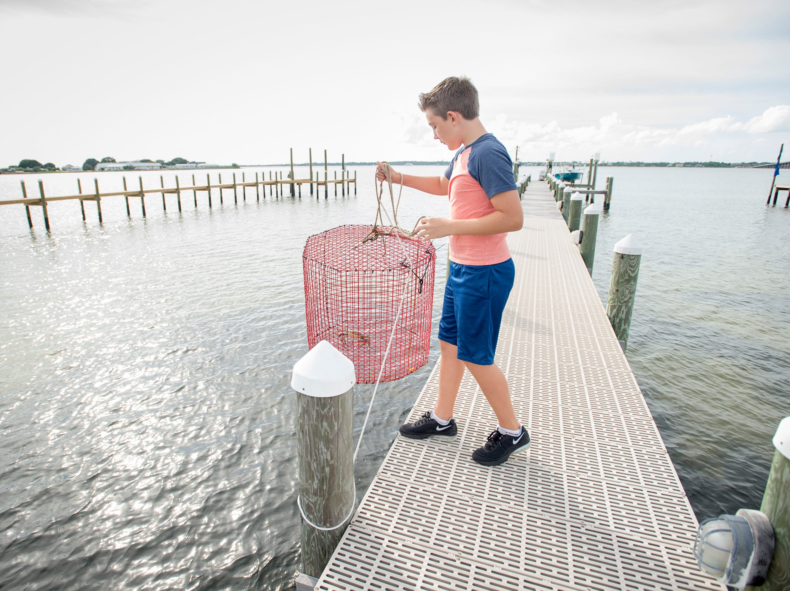 Ben Kalb, 12, pulls up the trap with the three-clawed blue crab that he recently caught behind his home on Little Sabine Bay in Pensacola.   Thursday, August 9, 2018.