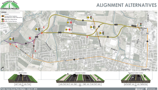 An illustration of the possible routes that could be chosen for the Eisenhower Extension. The red Xs along the map represent where the people who shared their perspective with The Evening Sun own property.