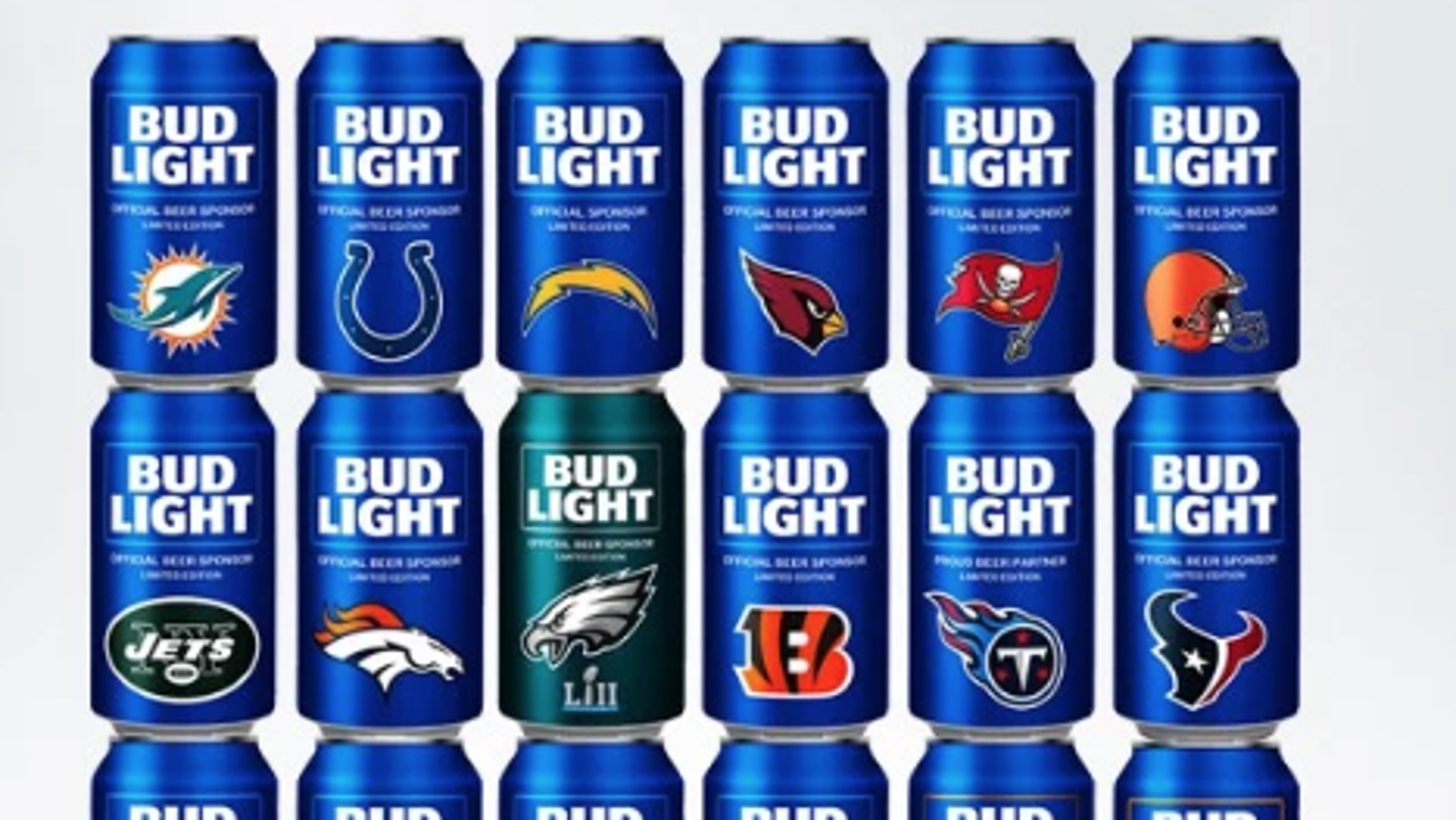 8a96e47f2 2018 NFL Bud Light Cans: 28 teams have special beer cans for season