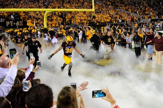 Arizona State defensive back Jordan Simone (38) takes the field to start the game against Oregon on Oct. 29, 2015 at Sun Devil Stadium.