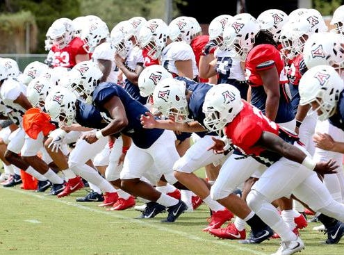 The Arizona Wildcats line up to run sprints during practice Thursday morning.