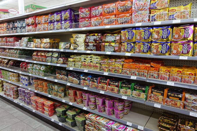 The instant noodle aisle at AZ International Marketplace in Mesa.