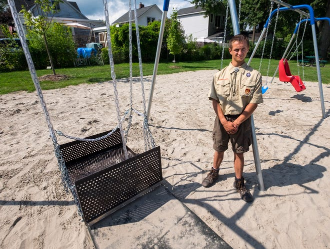 For his Eagle Scout project, Johnathan Markel, 16, assembled a handicap accessible swing at the Marine City beach. In addition, he assembled two belt swings and a special needs swing.