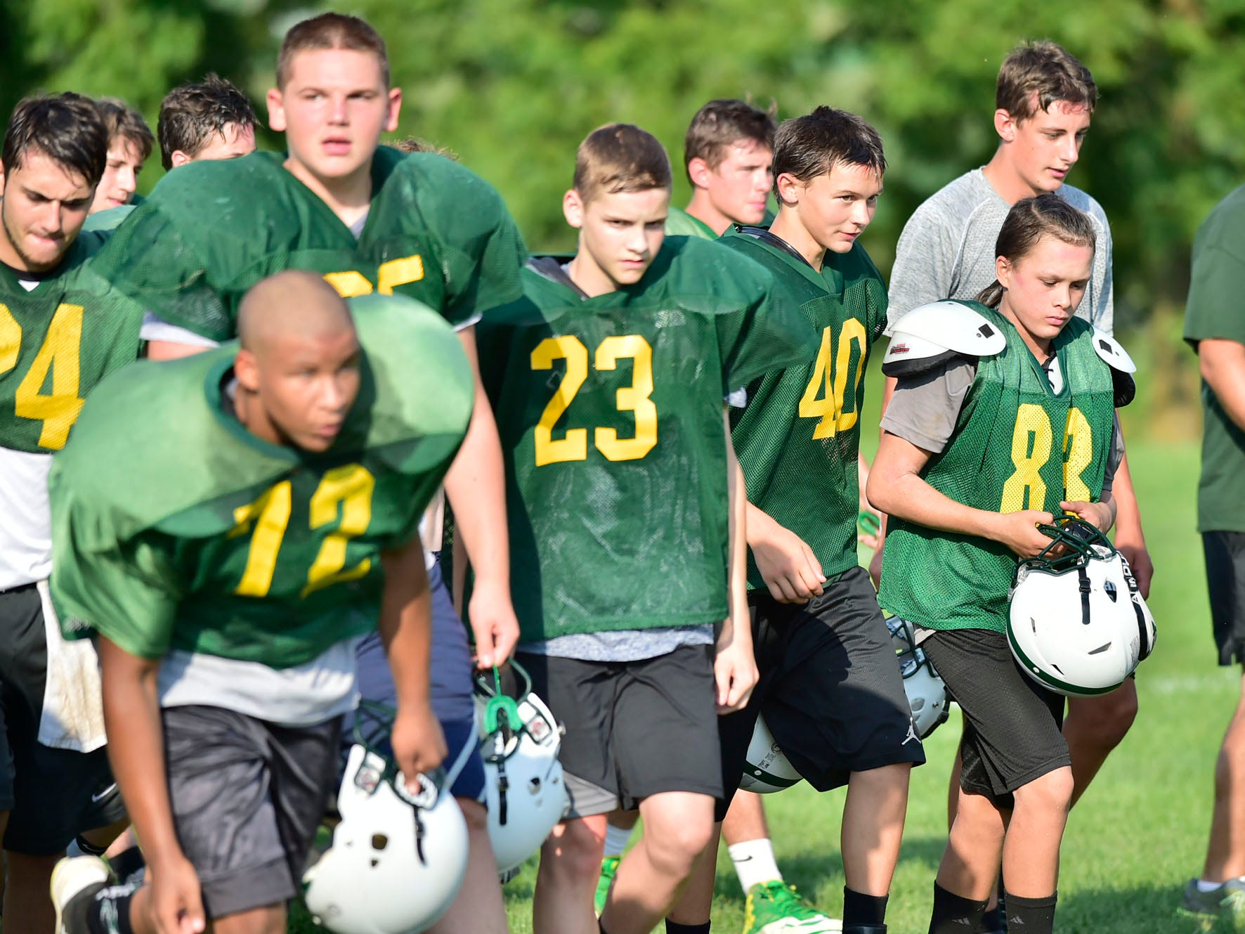 James Buchanan High School football players practice on Wednesday, August 8, 2018.