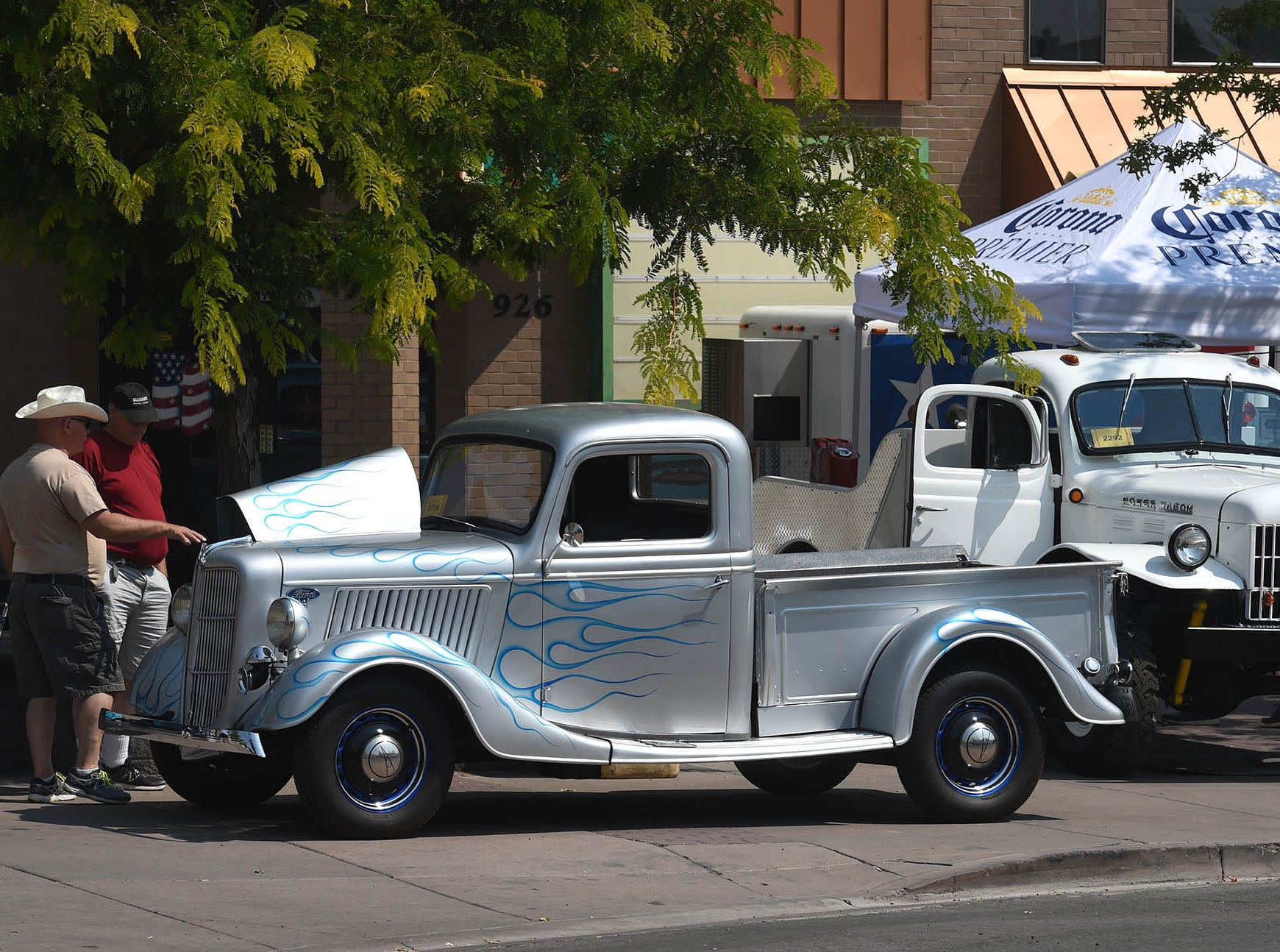 Classic cars line Victorian Square in Sparks during Hot August Nights 2018.
