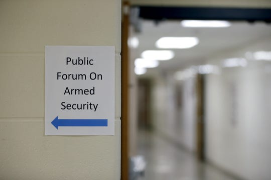 A public meeting was held at Merton Williams Middle School on the possibility of Hilton schools getting armed guards.