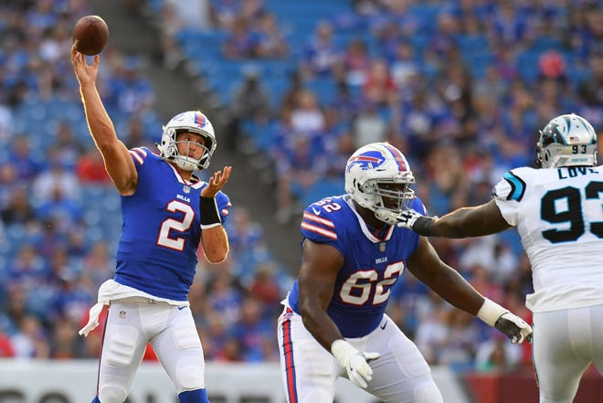 Aug 9, 2018; Orchard Park, NY, USA; Buffalo Bills quarterback Nathan Peterman (2) passes the ball against the Carolina Panthers during the first quarter at New Era Field. Mandatory Credit: Rich Barnes-USA TODAY Sports