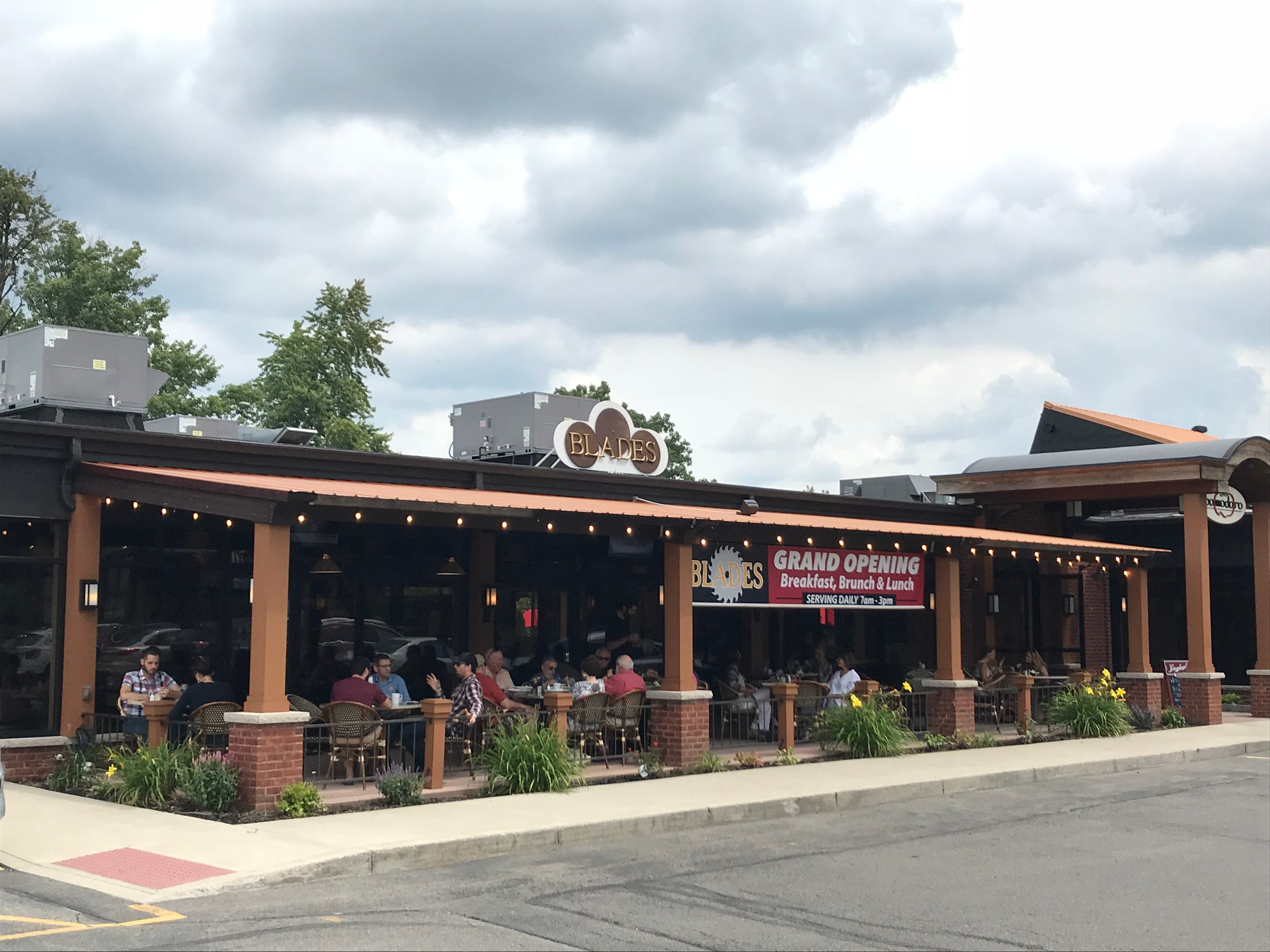 Blades, at 1290 East Ave., has a large, covered outdoor patio.