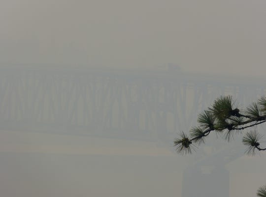 The Pit River Bridge over Lake Shasta was obscured by smoke earlier in August from the Carr Fire and other fires burning throughout Northern California, including the Hirz Fire north of Redding. The thick smoke made for unhealthy air quality all over the North State.