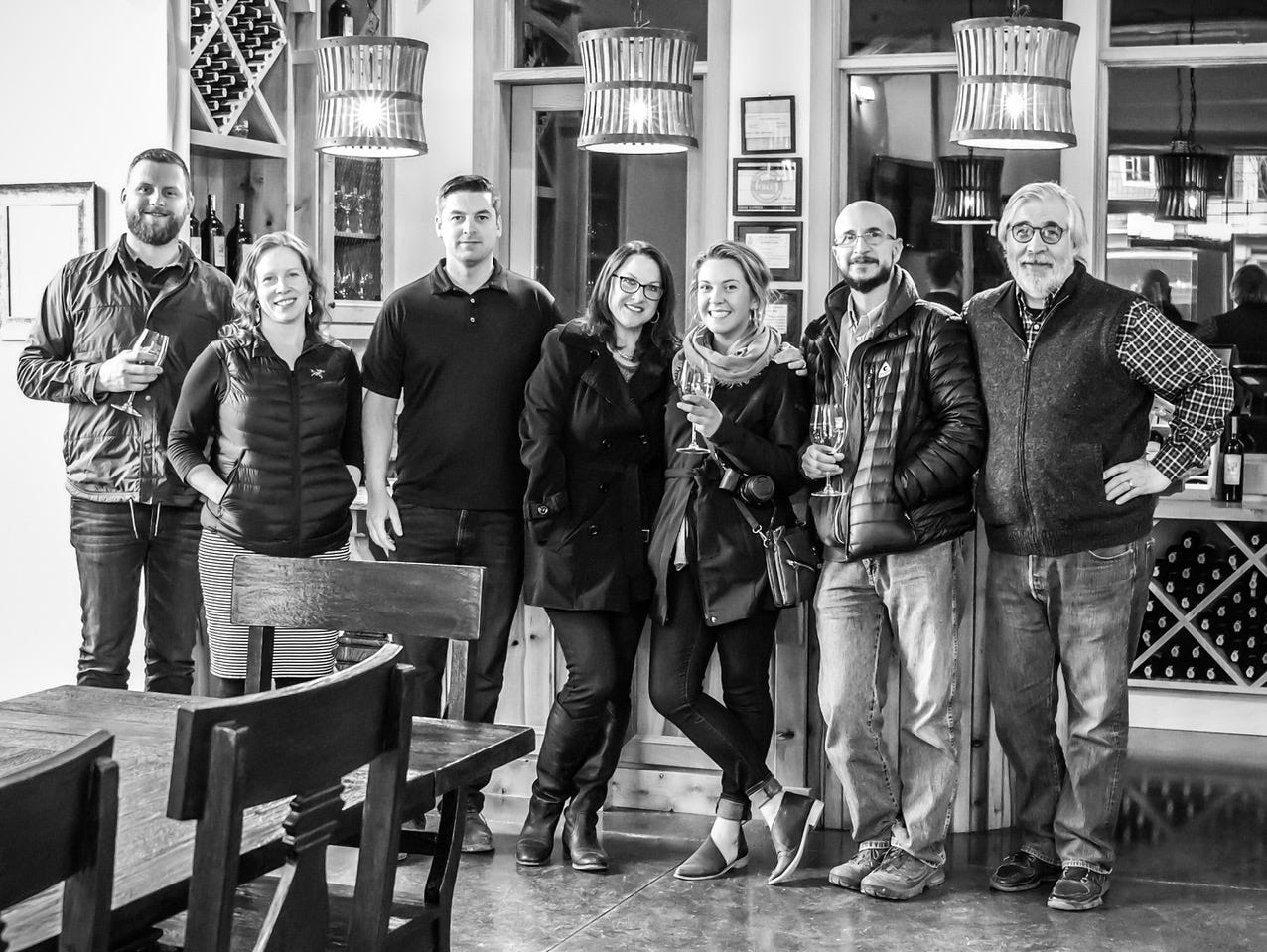 Nathan Good Architect's team is featured visiting their tasting room project, Calcagno Cellars, in Hood River. (From left to right: Mark Baker, Lydia Peters, Forrest Good, Meghan Laro, Emily Doerfler, John Carriere, and Nathan Good)