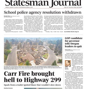 Cover of the Friday, August 3 edition of the Statesman Journal