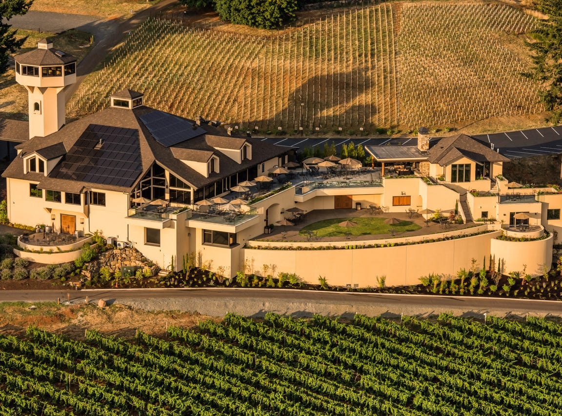 Aerial view over Willamette Valley Vineyards winery & tasting room, Willamette Valley, Oregon