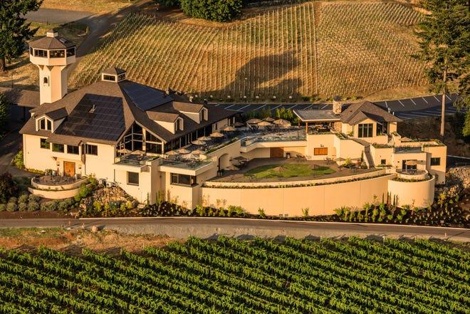 Aerial view over Willamette Valley Vineyards winery & tasting room, Willamette Valley, Oregon