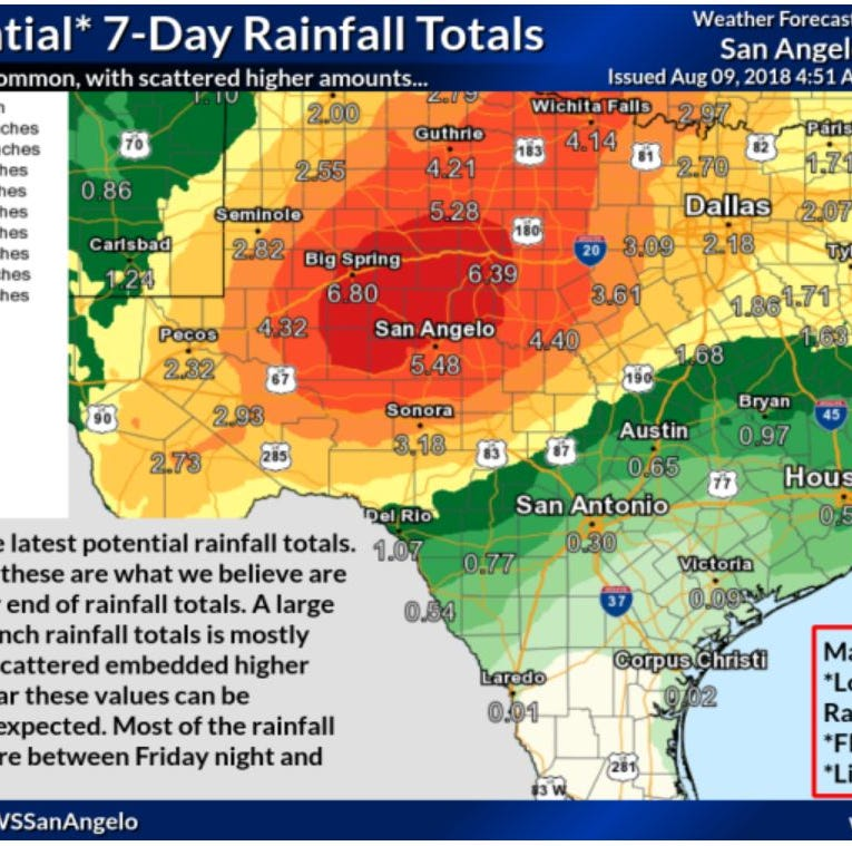 Early morning rains usher in several days of expected precipitation in West Texas