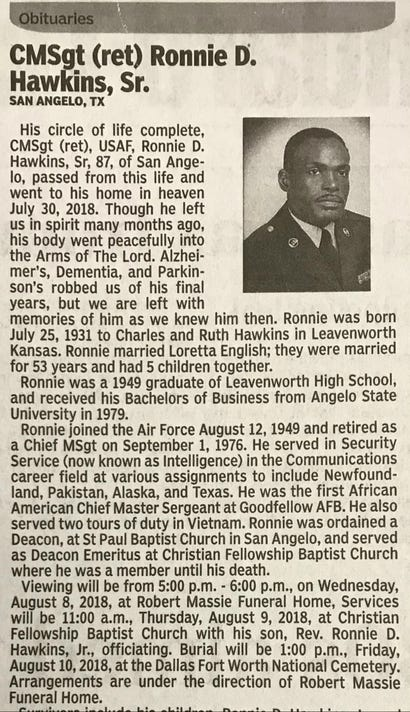 Ronnie Hawkins Sr Obituary