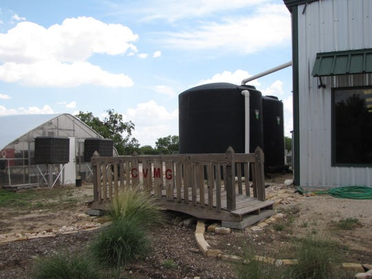 Rainwater harvesting can save money and help the environment. These 3,000-gallon tanks are part of the rainwater harvesting system at the Tom Green 4-H Center.