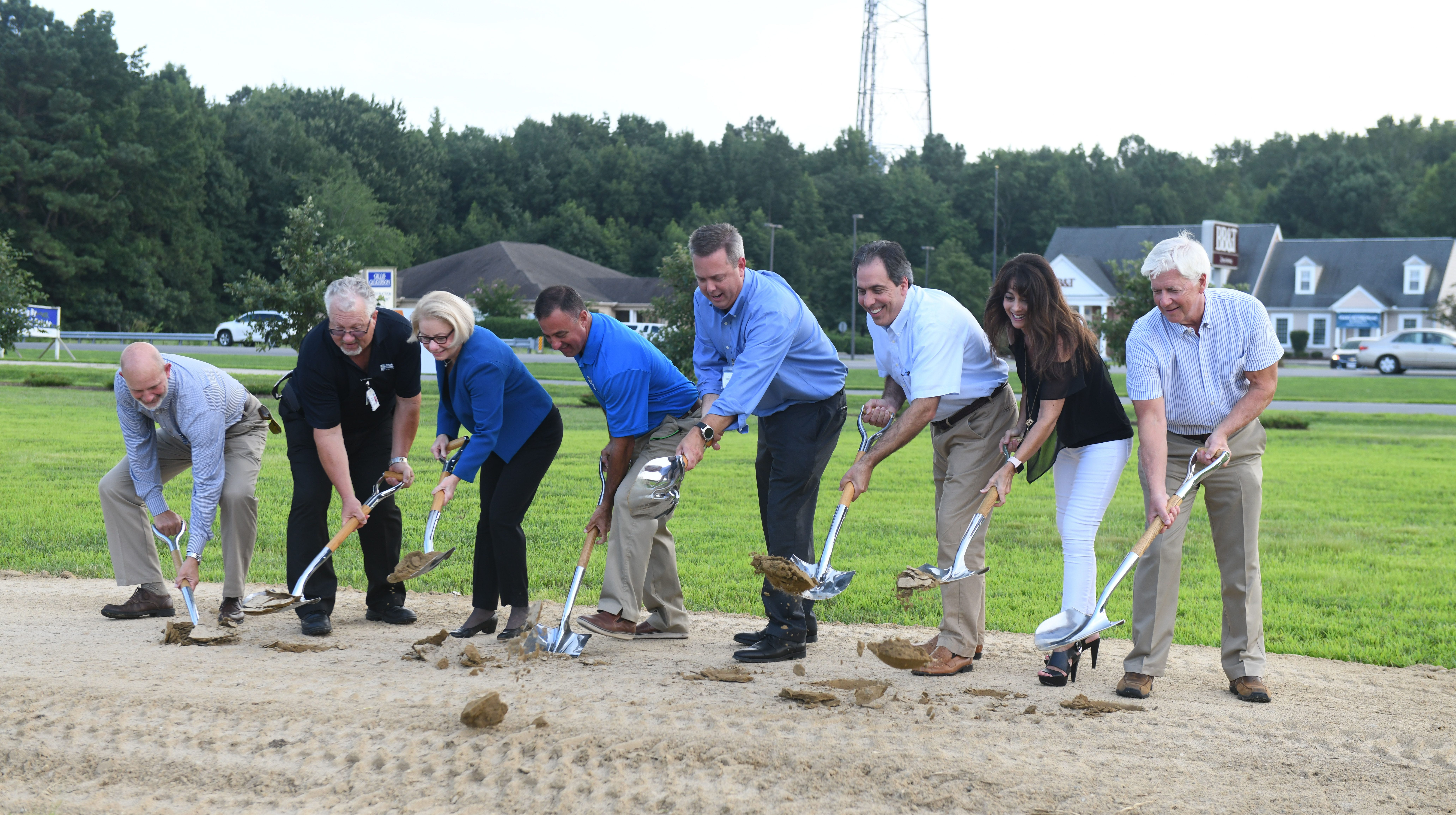 L to R, Tim Feist, PRMC VP, Tom Anderson, PRMC VP, Cindy Lunsford, Exec. VP, Herb Geary, PRMC Board of Trustees, Steve Leonard, PRMC President CEO, Dr. Gerry Canakis, Carla Canakis, Palmer Gillis, Developer broke ground on Wednesday, August 8, 2018 for the new endoscopy center at the Delmarva Health Pavilion in Ocean Pines, Md.