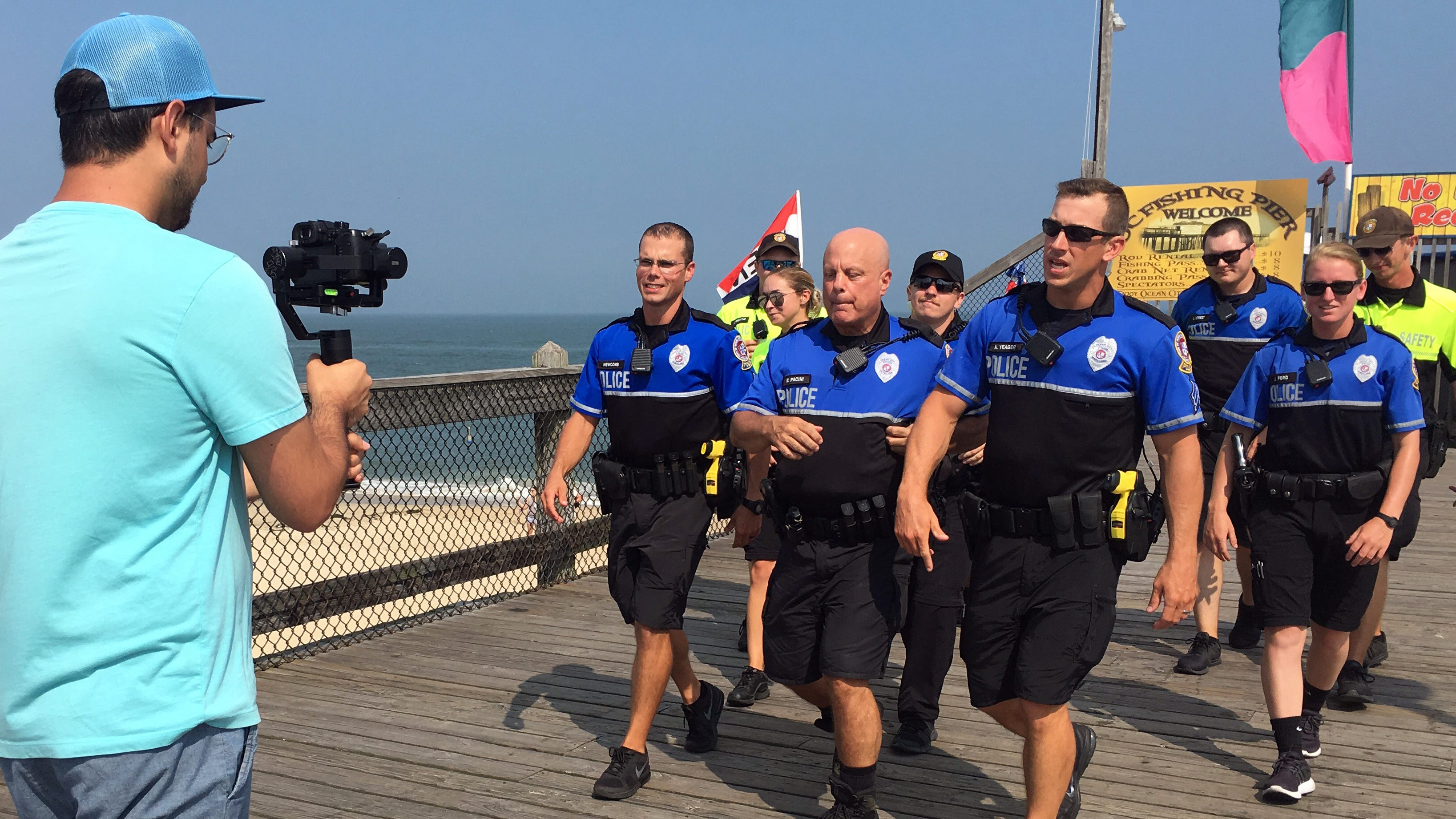 Members of the Ocean City Police Department perform in a #lipsyncchallenge video that will be released on Friday, Aug. 10, 2018.