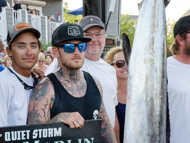 The Underdog's first place white marlin. The 83 pound fish took over first place in the white marlin category on Thursday.
