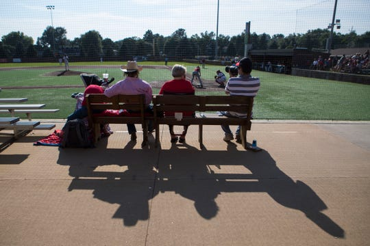 People gather to Ronken Field at Augustana University for the state amateur baseball tournament Wednesday, Aug. 8, 2018.