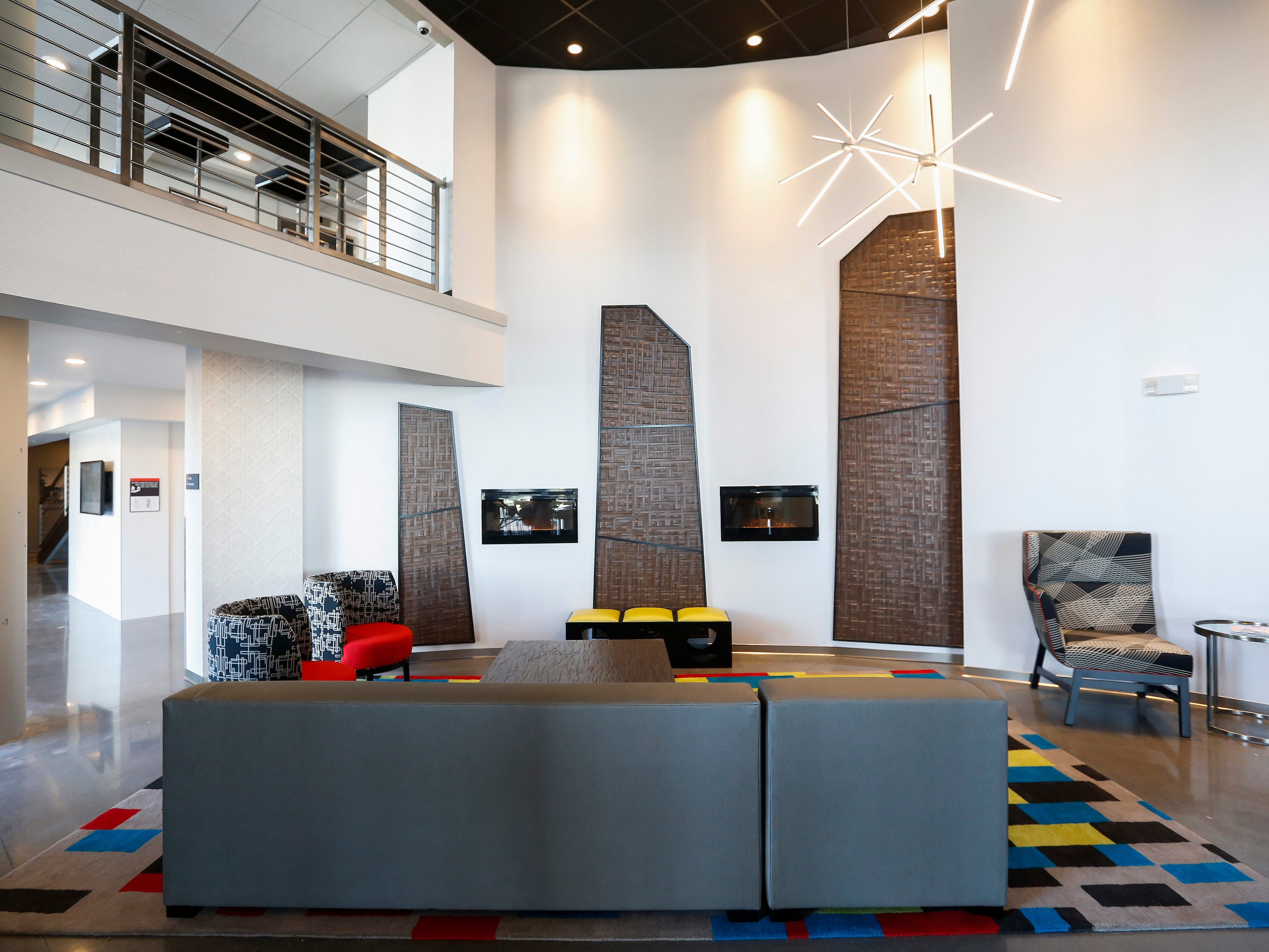 A look at the the lobby inside the new Vib Hotel, located at 1845 E Sunshine St. The hotel will hold its grand opening on Friday, Aug. 10, 2018.