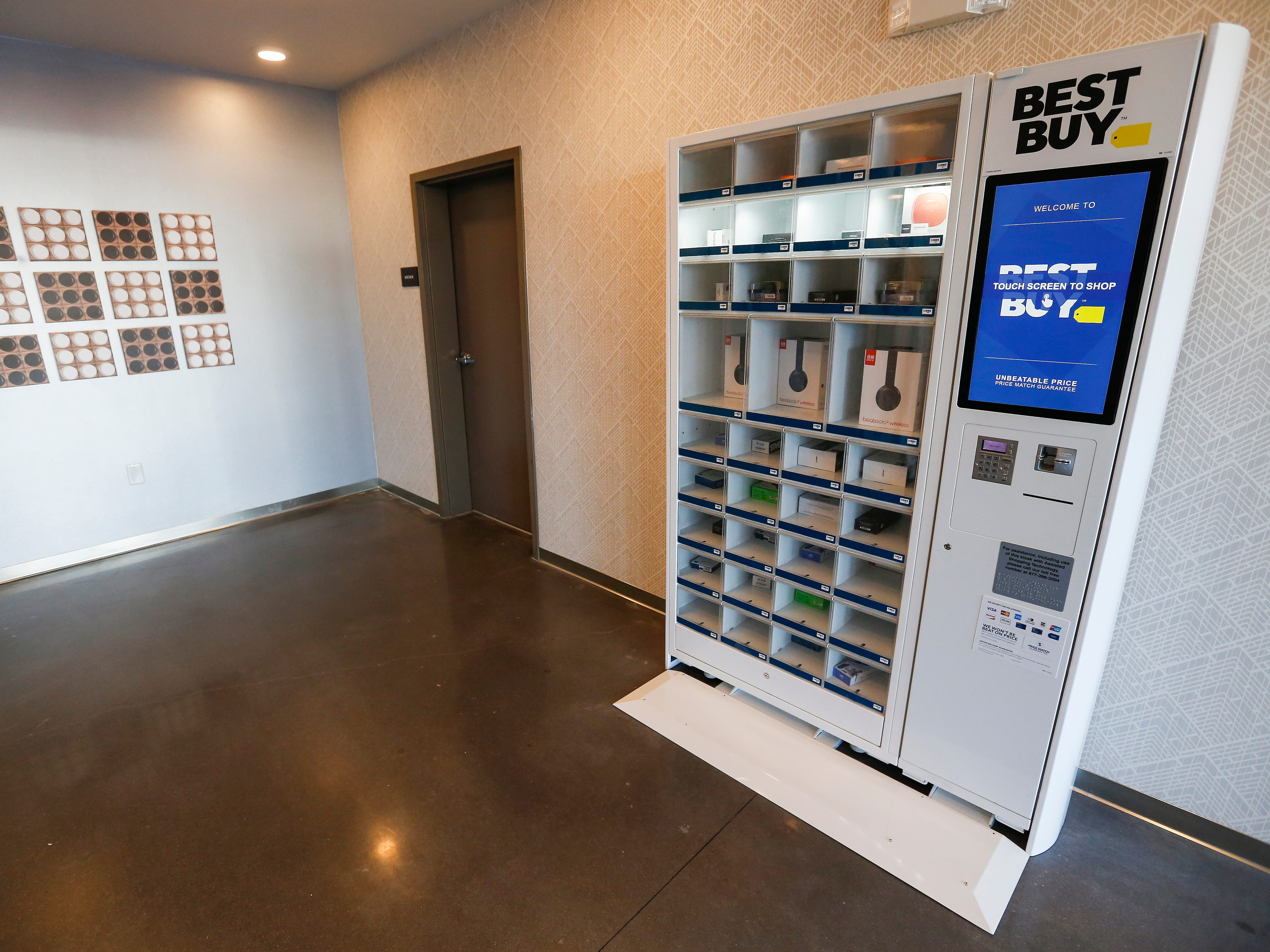 A Best Buy kiosk is located by the elevators in the lobby of the Vib Hotel. Headphones, flash drives, usb cables and more are for sale. The hotel will hold its grand opening on Friday, Aug. 10, 2018.