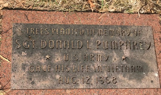 Behind Brentwood Christian Church is a  plaque that honors the memory of Sgt. Donald L. Pumphrey.