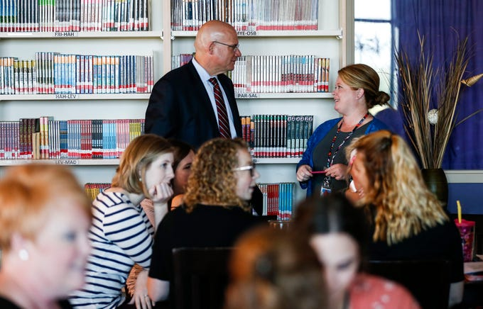 Nixa Superintendent Gearl Loden talks with Summit Intermediate School Assistant Principle Becky Quackenbush while attending a training session on Thursday, August 9, 2018.