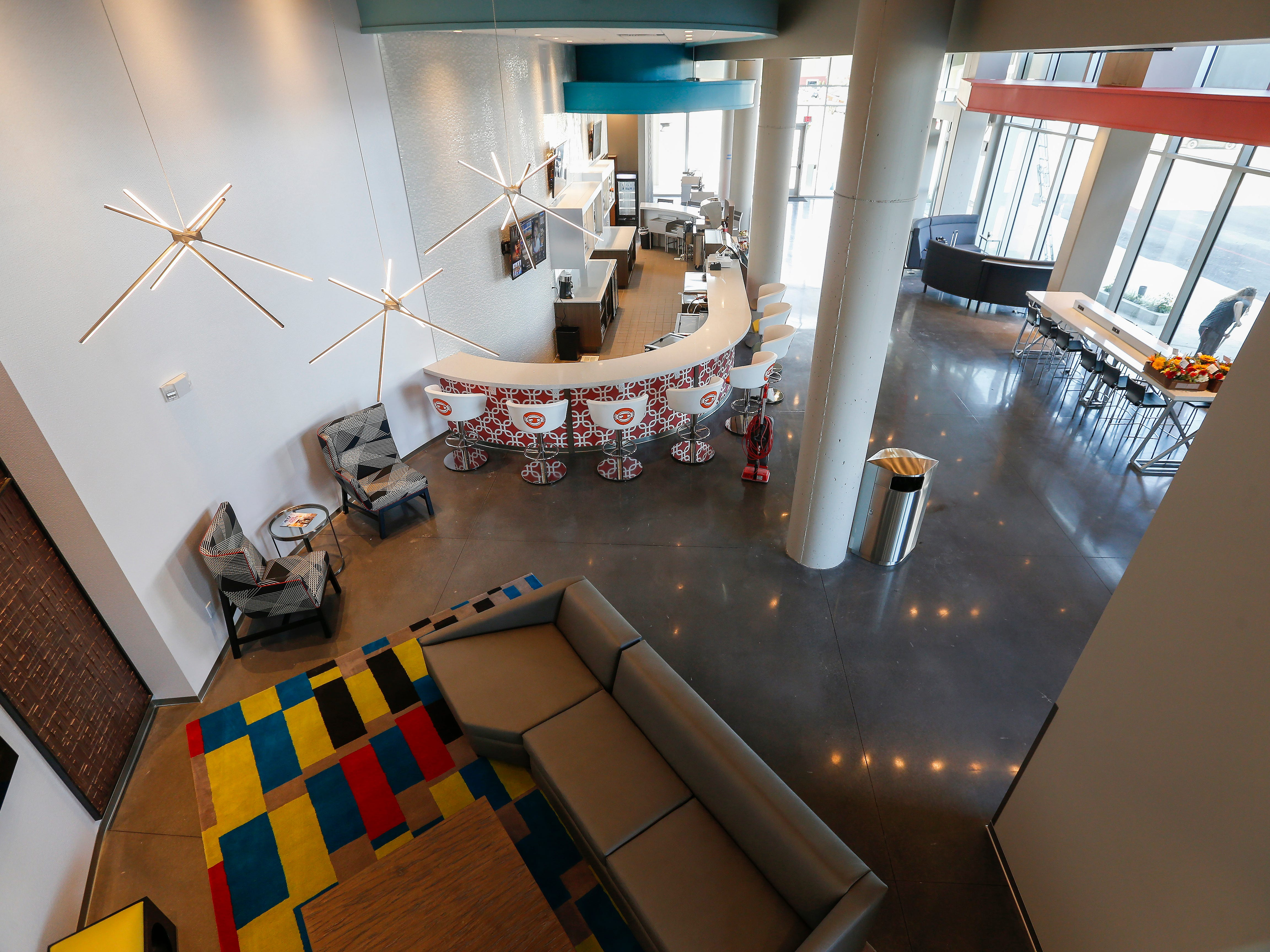 A look at the lobby from the Zen Zone of the mezzanine level at the new Vib Hotel, located at 1845 E Sunshine St. The hotel will hold its grand opening on Friday, Aug. 10, 2018.