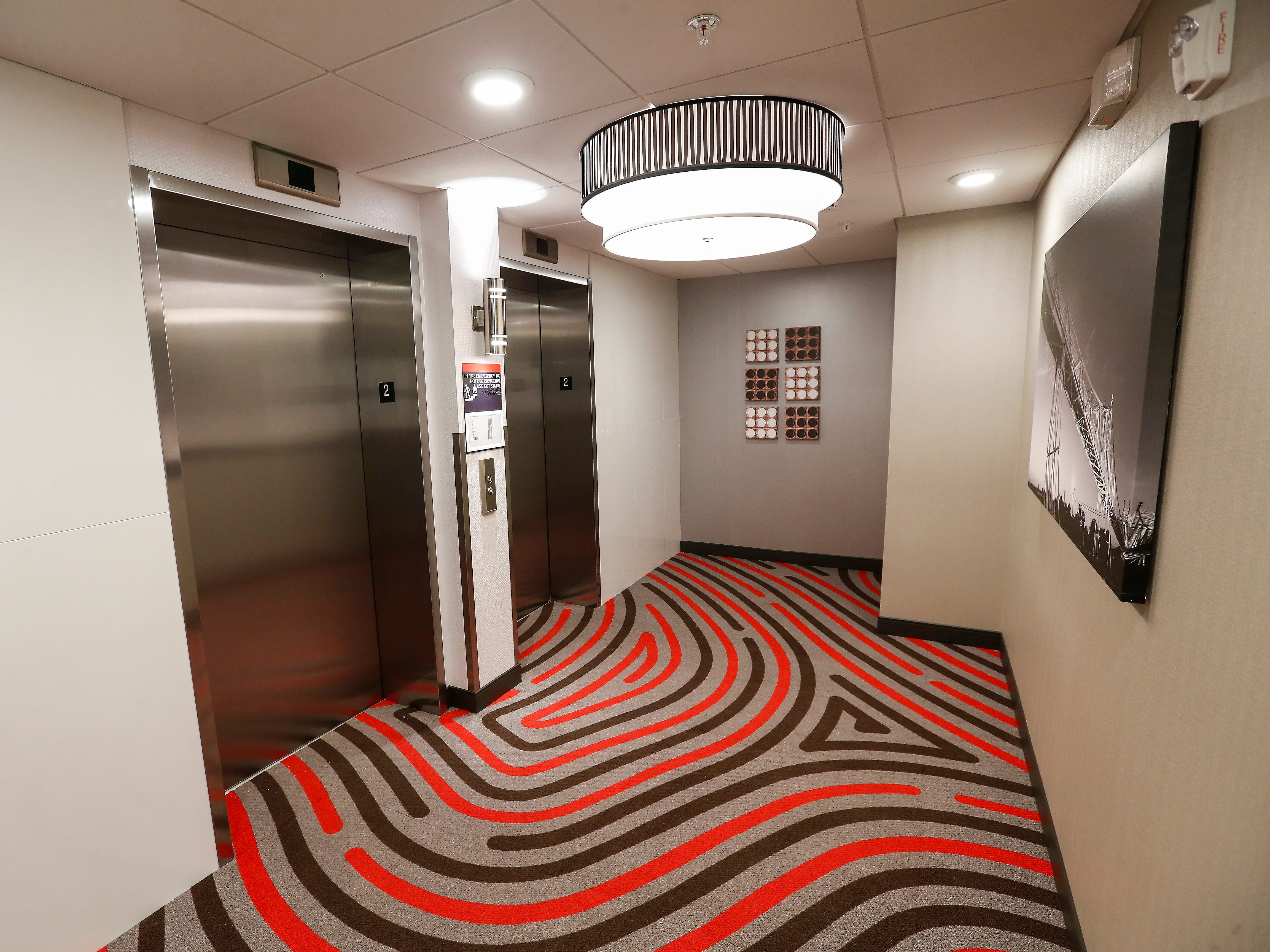 A look at the elevators at the new Vib Hotel, located at 1845 E Sunshine St. The hotel will hold its grand opening on Friday, Aug. 10, 2018.