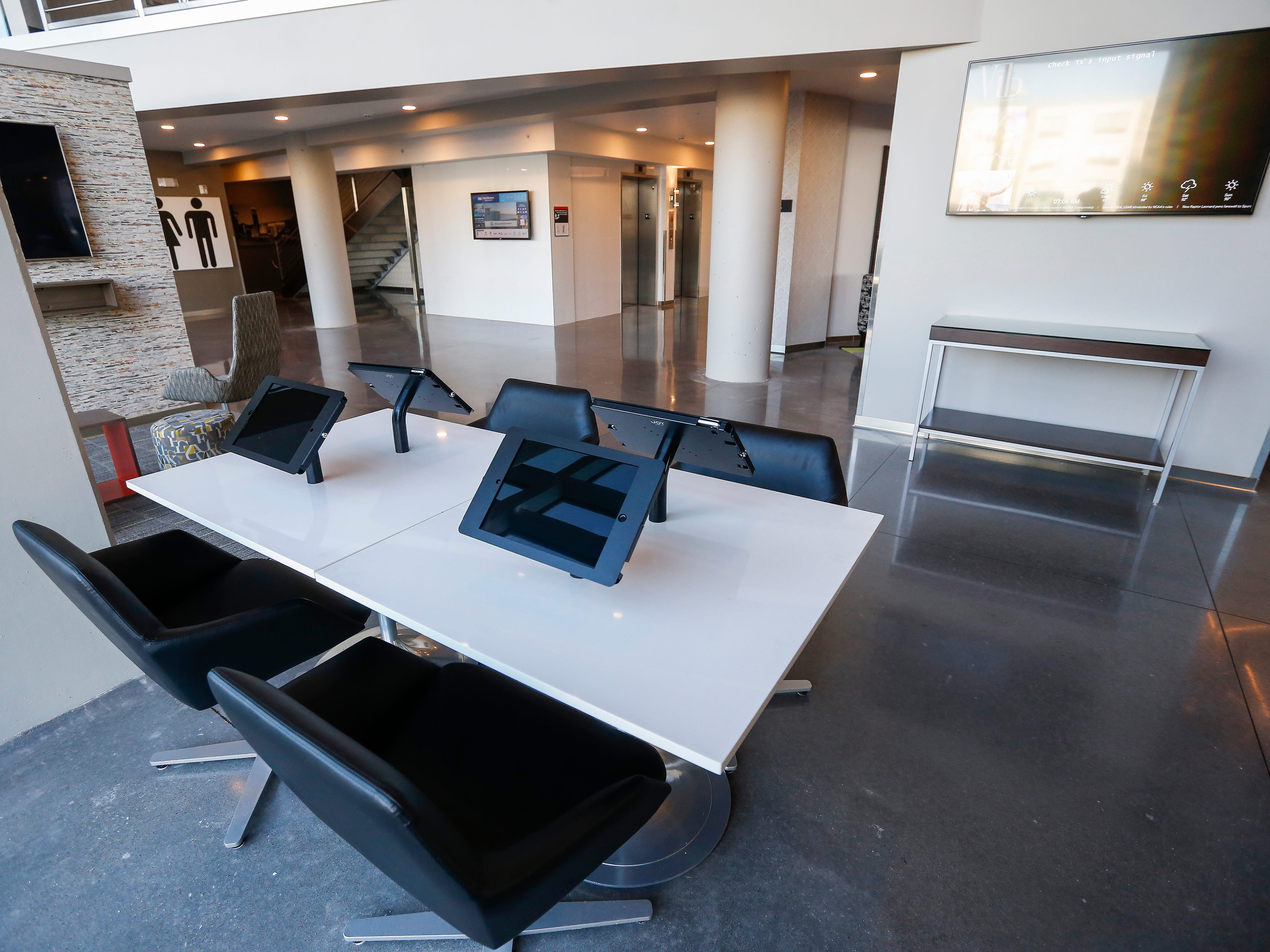 A look at the the business center inside the new Vib Hotel, located at 1845 E Sunshine St. The hotel will hold its grand opening on Friday, Aug. 10, 2018.