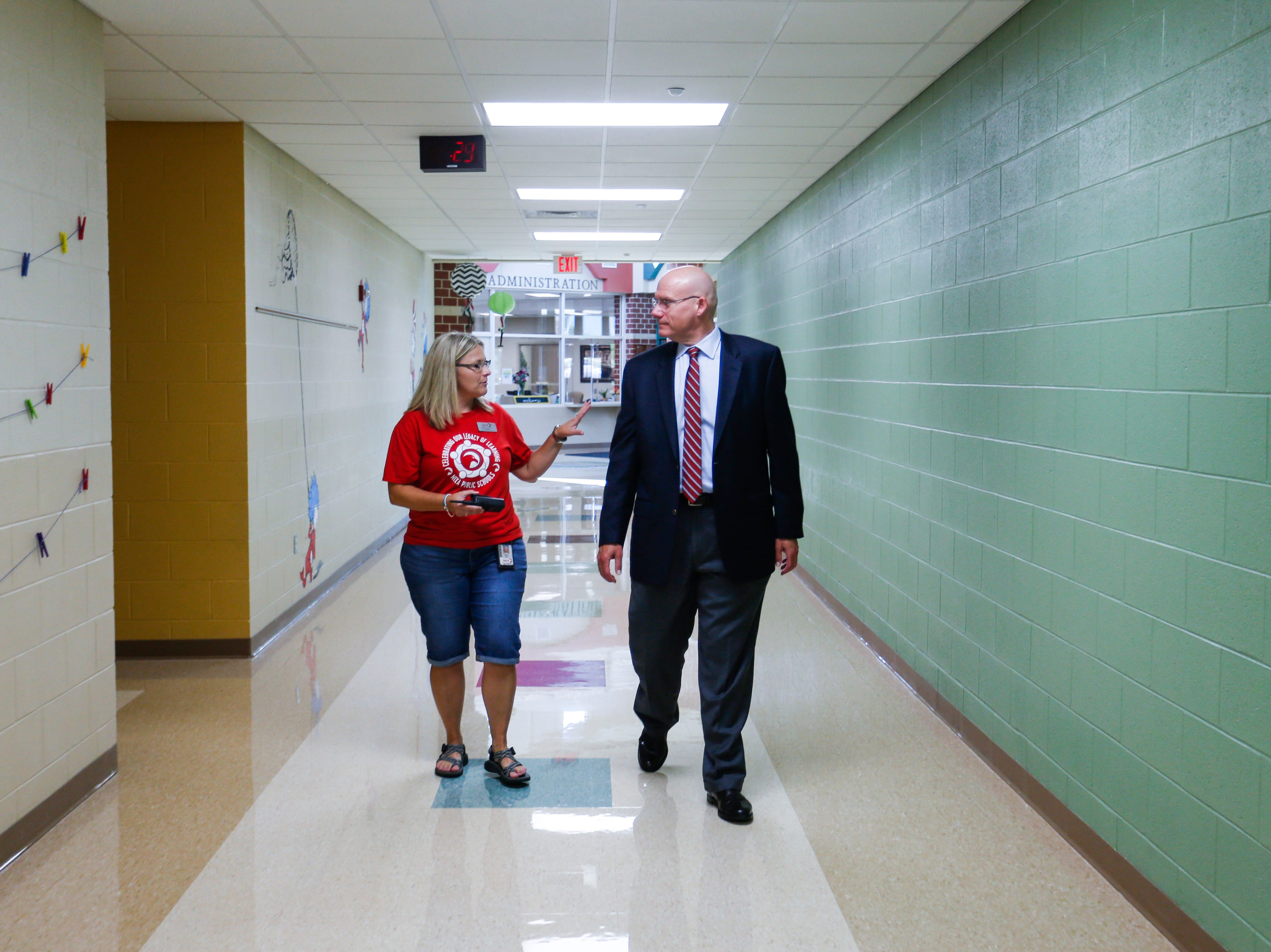 Nixa Superintendent Gearl Loden gets a tour of High Pointe Elementary School from Principal Marilyn Hanna on Thursday, August 9, 2018.