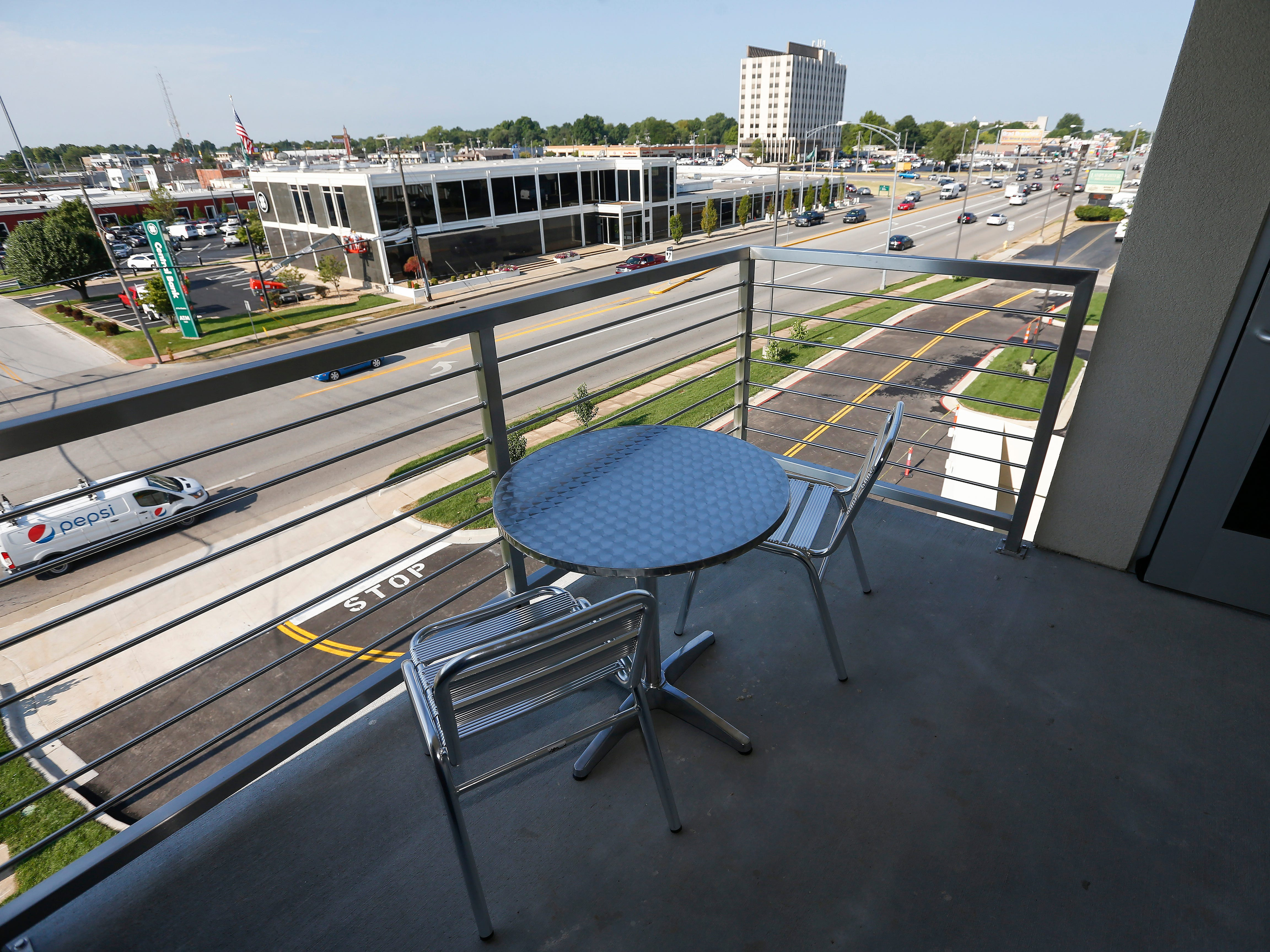 The view from one of the balcony rooms at the new Vib Hotel, located at 1845 E Sunshine St. The hotel will hold its grand opening on Friday, Aug. 10, 2018.