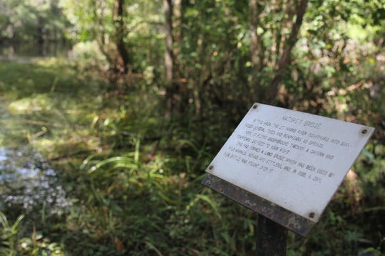 A sign at the Natural Bridge, where the St. Marks River goes underground in South Leon County. Another 2,000 acres of land, dotted with springs and old-growth Florida forests, have been added to the state park.
